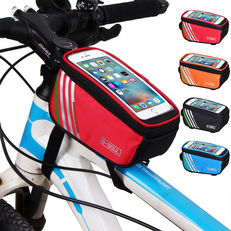 Waterdichte Fietstas Nylon Bike Cyling Mobiele Mobiele Telefoon Bag Case 5.5 ''6'' Fietstassen Frame Voor Tube tassen Accessoires
