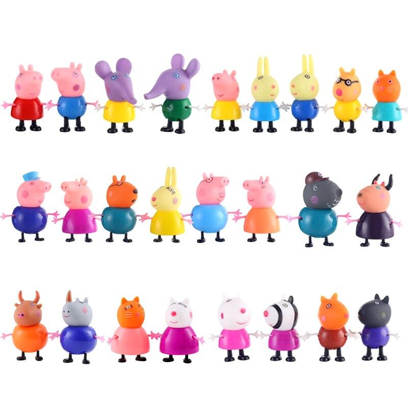 Оригинальные куклы Peppa Pig, Джордж, 25 шт., набор, фигурки из аниме, игрушки из мультфильма, семейные друзья, Свинка Пеппа, вечерние игрушки для детей, подарок на день рождения, Рождество - Цвет: 25 Pcs