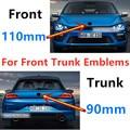 2 шт. 110 мм 90 мм передняя решетка автомобиля Знак логотипа Задняя Крышка багажника эмблема Замена для Scirocco MK3 глянцевая матовая взрывобезопас...