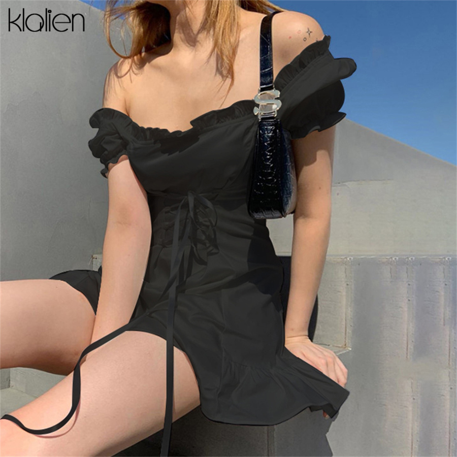 KLALIEN Fashion Elegant Bow White Female Mini Dress Summer Party Birthday Festival Cute Sexy French Romantic Silk Dress Women 4