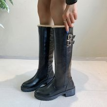 Retro Knie-Hoge Lange Laarzen vrouwen Mid Shalf Winter Gesp Med Riem Platforms Cool Punk Waterdichte Laarzen chaussures femme(China)