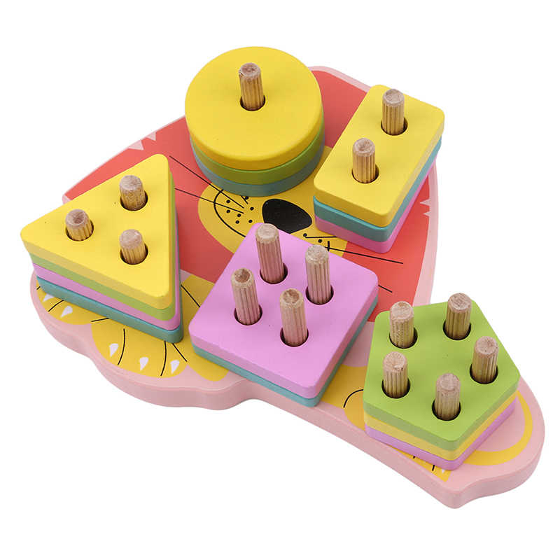 Màu sắc hoạt hình hình Bộ 5 cột hình Con Sư Tử khối xây dựng bộ gỗ xếp hình trẻ em khối xây dựng đồ chơi