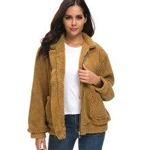 все цены на 2019 Winter Teddy Coat Women Faux Fur Coat Teddy Bear Jacket Thick Warm Fake Fleece Jacket Fluffy Jackets Plus Size 3XL Overcoat онлайн