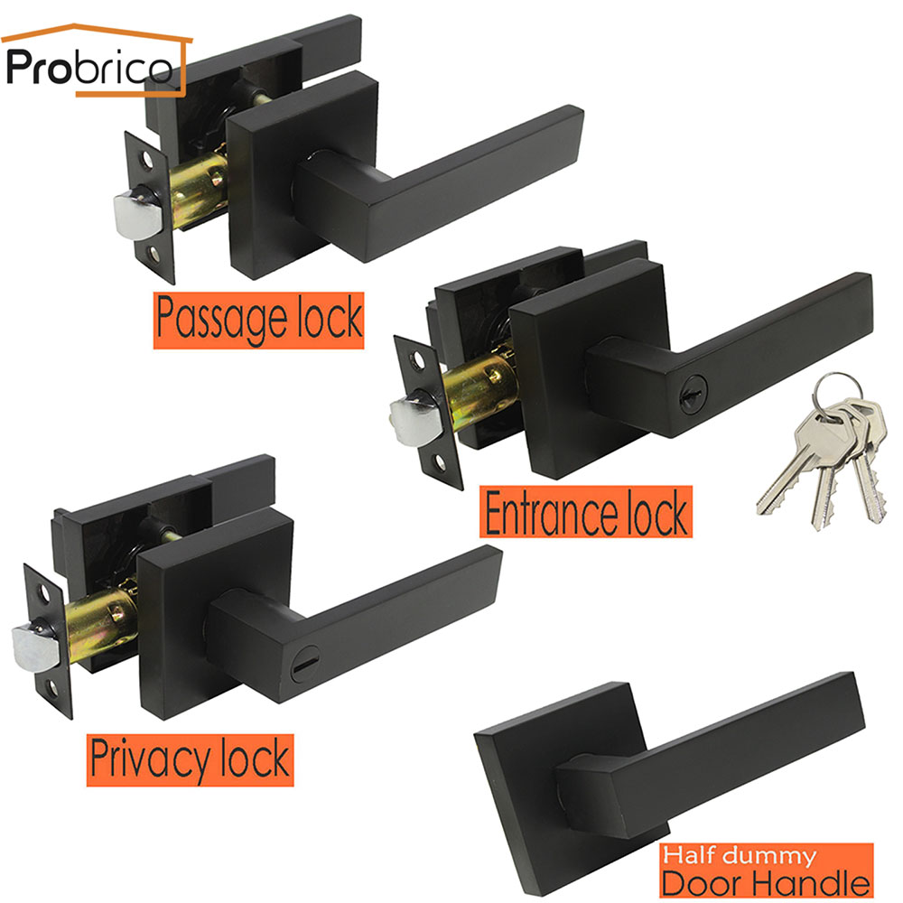 Probrico Black Door Handles For Interior Doors Front Back Gate Levers With Lock Cylinder/latch For Home Heavy Duty Lock Hardware