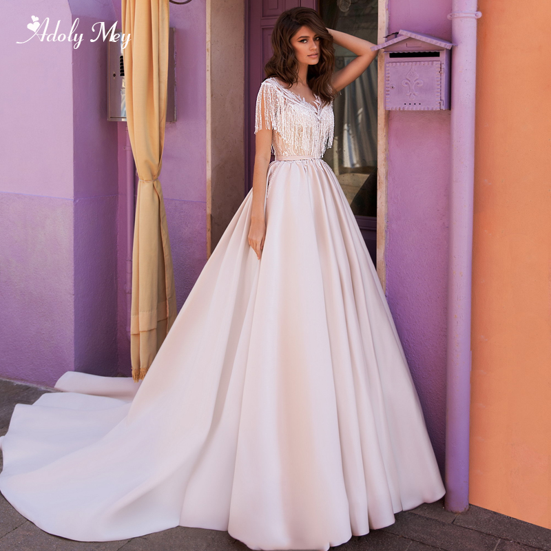 Adoly Mey New Arrival Scoop Neck Button A-Line Wedding Dresses 2020 Luxury Beaded Appliques Satin Court Train Vintage Bride Gown