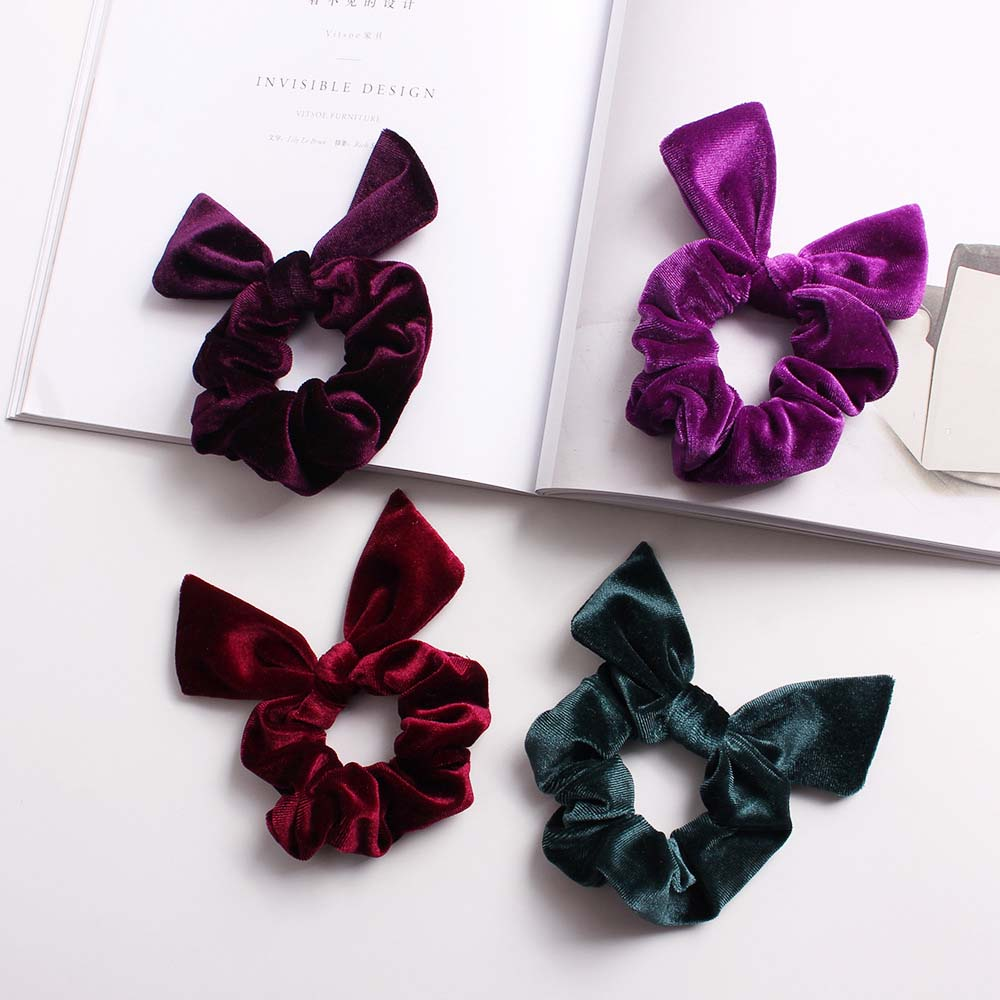 1pc Simple Velvet Solid Color Rabbit Ears Fashion Lady Hair Ring Scrunchie Elastic Hair Band Hair Ties Rope Hair Accessories