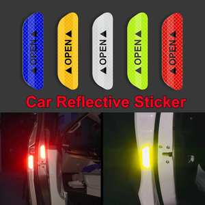 4Pcs Car Door Stickers Universal Safety Warning Mark OPEN High Reflective Tape Door Stickers Auto Driving Exterior Accessories