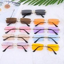 Moda de luxo retângulo sem aro feminino óculos de sol unisex retro gradiente cor uv400 viagem vintage óculos de sol para homem