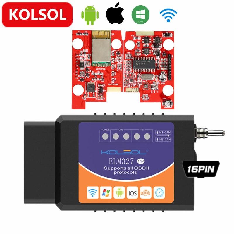 KOLSOL Wireless ELM327 For Ford ELMconfig CH340+25K80 chip HS-CAN / MS-CAN ELM 327 V1.5 OBD2 Code Scanner(China)