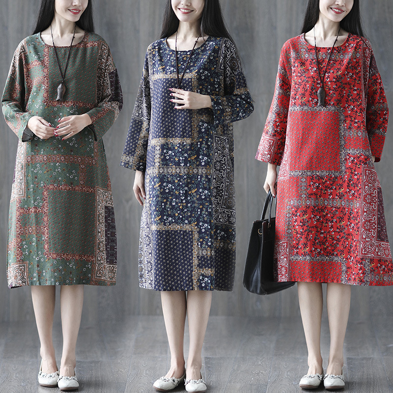 2018 Autumn Clothing New Style Cotton Linen Large Size Printed Mid-length Bat Sleeve Loose-Fit Dress Women's