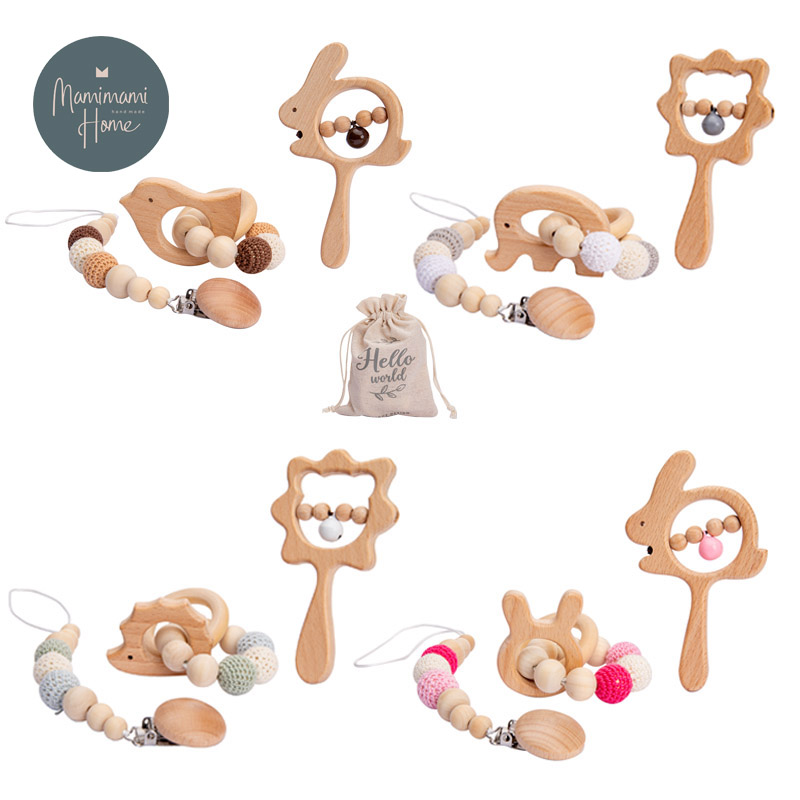 2021 New Baby Rattles Set Wooden Baby Teether Bracelet Pacifier Chain Rattles Musical Newborn Toys for 0-12Months Kids