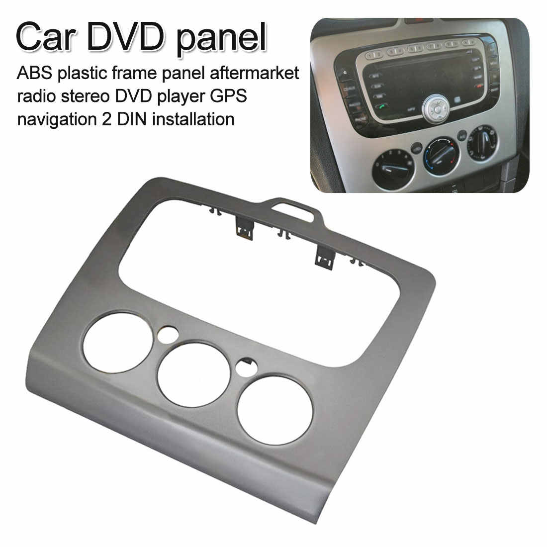 Doble Din Car DVD marco PVC Auto DVD estéreo Trim Kit Panel tablero para Ford Focus MK2 2005 ~ 2008