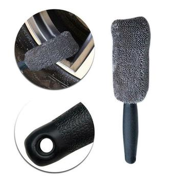Universal Car Cleaning  Portable Microfiber Wheel Tire Rim Brush For Car With Plastic Handle Washing Cleaner Car Accessories 2
