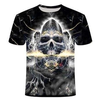 Camisetas de calavera para hombre, camiseta moderna de verano de manga corta con estampado de calavera Ghost Rider, en 3D, blanco y negro, Tops con estampado de calavera Rock, calavera con fuego, Tsh