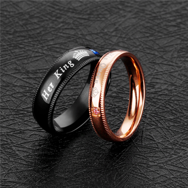 Simple Couple Rings Her King & His Queen Crown Charm Letter Zircon Ring For Women Men Exclusive Couple Wedding Ring Lover Gift 5