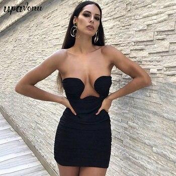 Free Shipping 2021 New Women Black Sleeveless Mini Club Dress Sexy Strapless Mesh Draped Celebrity Runway Party Dresses Vestidos