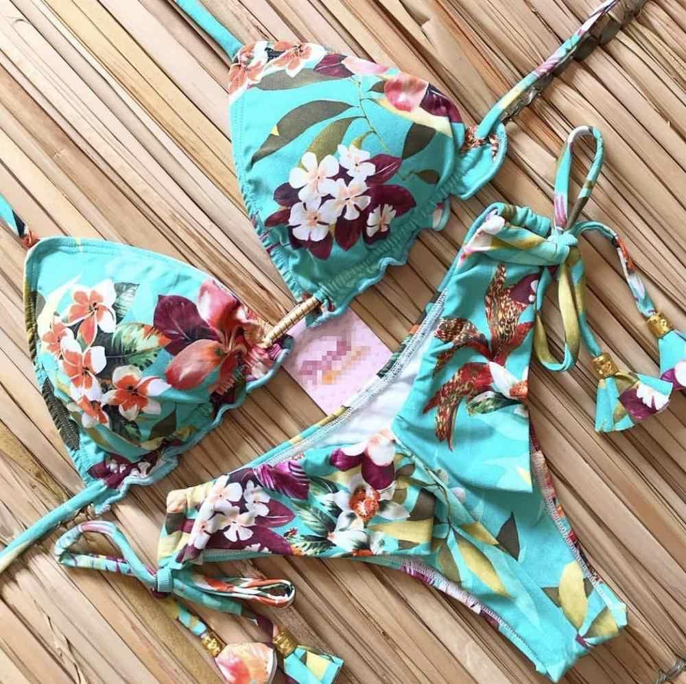 2020 nuovo Bikini Costume Da Bagno Delle Donne Croce Fasciatura Costumi Da Bagno Push Up Bikini Set Da Spiaggia Costume Da Bagno Brasiliano Biquni Stampa