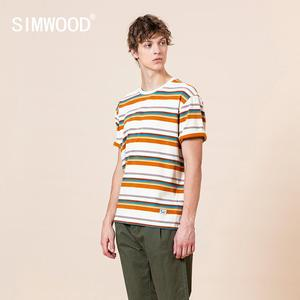 SIMWOOD 2020 Summer new colorful striped t-shirt men loose model 100% cotton plus size high quality tees brand clothing SJ170299