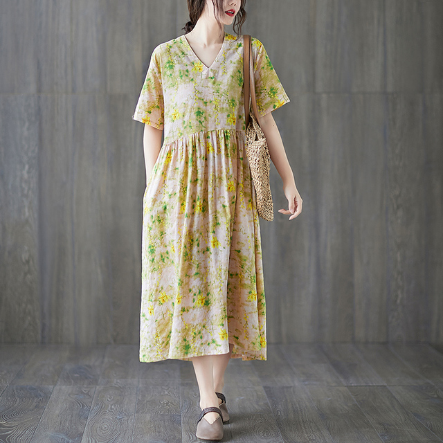 Uego Short Sleeve Loose Summer Dress Soft Cotton Linen Print Floral tender Ladies Dress Plus Size Women Holiday Casual Dress 5