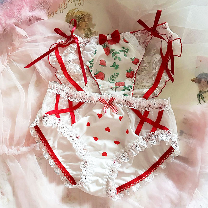 Young Girl Lolita Cute Strawberry Love Ribbon Underpants Japanese Sexy Women's Mesh Lace Briefs Low Waist Panties Underwear