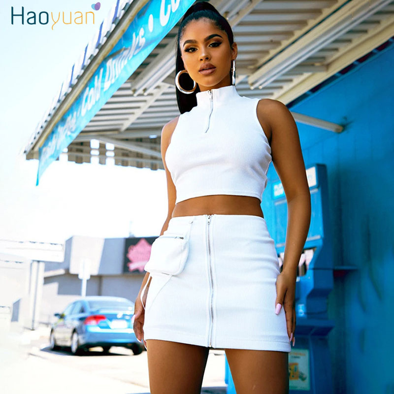 HAOYUAN Sexy <font><b>Ribbed</b></font> Two Piece <font><b>Set</b></font> Women 2020 Summer Clother Crop Top and <font><b>Skirt</b></font> Lounge Wear 2 Piece Club Outfits Matching <font><b>Sets</b></font> image