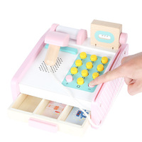 New Style Wooden Children Play House Toys Card Swiping Scanning PA Model Supermarket Cashier Machine Toy Set