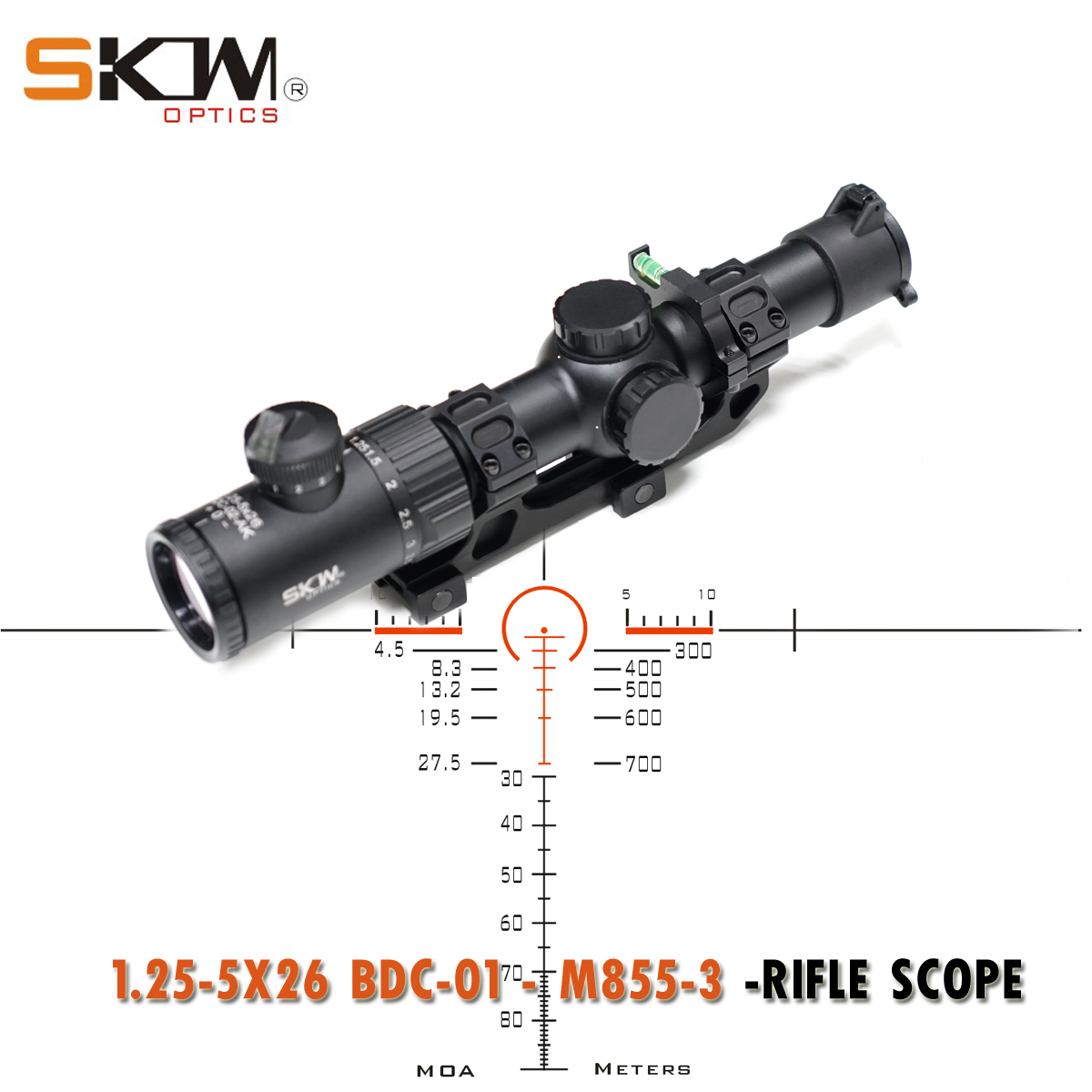 SKWoptics1.25-5x26bdc-01-M855-3 Tactical riflescopes Hunting AK AR,M4 sight compact rifle scope ar15 BDC reticle 30 scope ring image