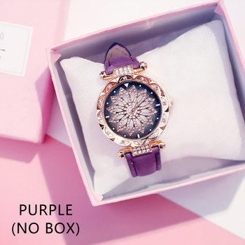 Casual Women Romantic Starry Sky Wrist Watch bracelet Leather Rhinestone Designer Ladies Clock Simple Dress Gfit Montre Femm - purple