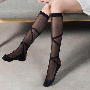 Black White Women Stockings Vintage Lolita Style Bandage Bow Pattern Girls Knee Stockings Sexy Transparent Nylon Stocking Women