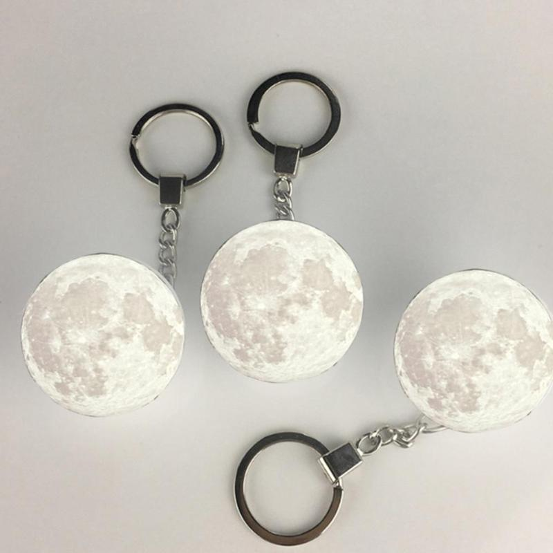 Portable 3D Planet Keyring Moon Light Keychain Decoration Night Lamp Double Side Glass Ball Key Chain Creative Gifts