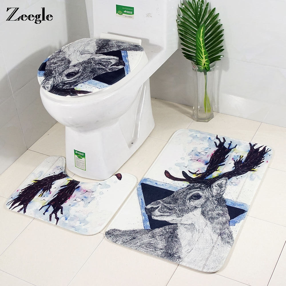 Zeegle 3pcs Bath <font><b>Mat</b></font> Set <font><b>Deer</b></font> Printed <font><b>Bathroom</b></font> Carpet Toilet <font><b>Mat</b></font> Absorbent <font><b>Bathroom</b></font> Floor <font><b>Mat</b></font> Bath Rugs Non-slip Bath Carpet image