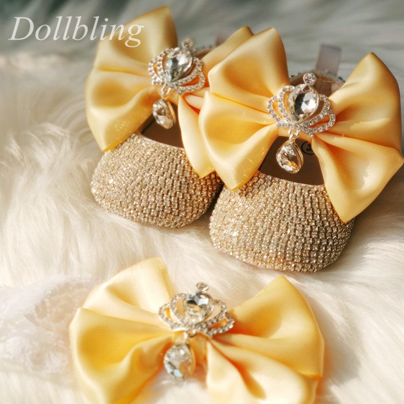 Dollbling Baby Diamond Shoes Jewels Crown Handband Bling Sparkly Prewalkers Gorgeous Pearls Infant Little Girl Dress Shoes