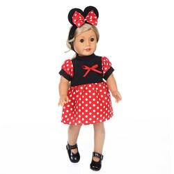 Amazon оптовая продажа 18-дюймовых Америка Детский жакет из денима для девочки; кукольная одежда красного цвета в горошек, костюм Микки платье