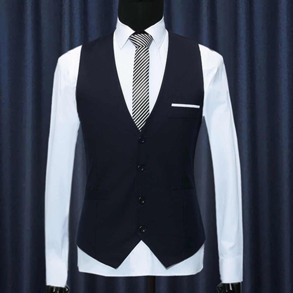 Męska formalna elegancka typu slim-Fit V-neck solidny jednorzędowy garnitur z kamizelką kamizelka nowość