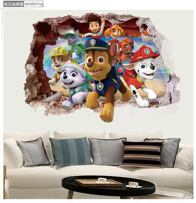 HOT 3D  Paw Patrol anime wall decals Dogs 3d Ryder vinyl stickers for kids rooms decoration baby favorite posters free shipping