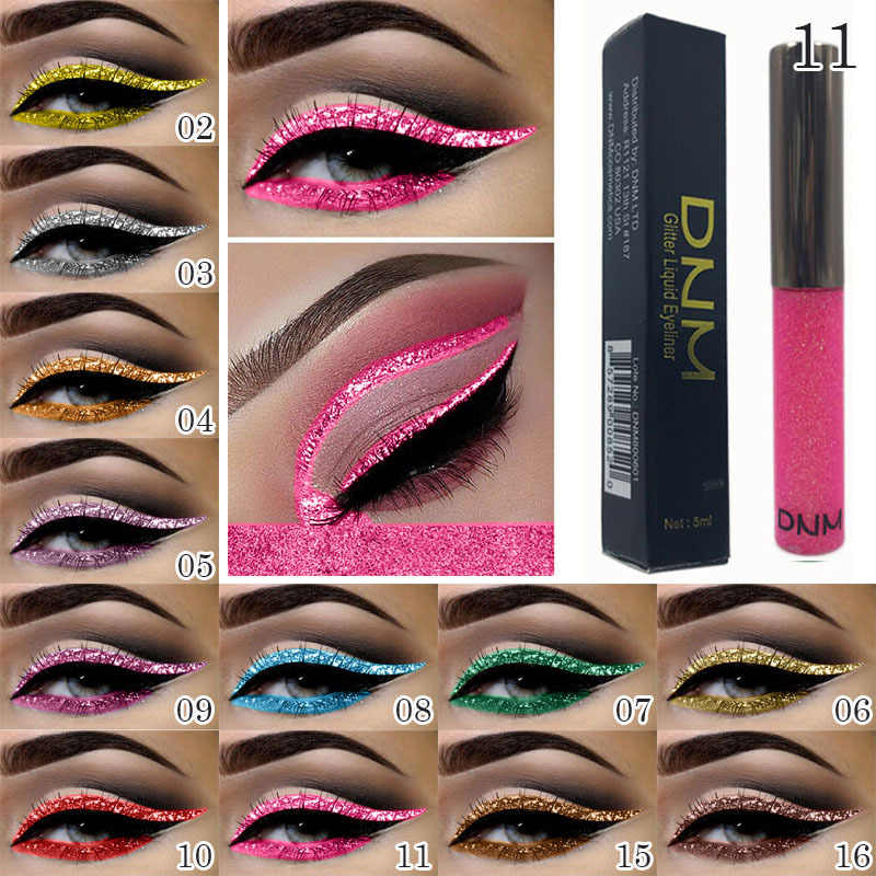 DNM 16 สี Bright SHINY Eyeliner Liquid Moisturizing Pearlescent Diamond Eyeliner กันน้ำ Eyeliner ครีม