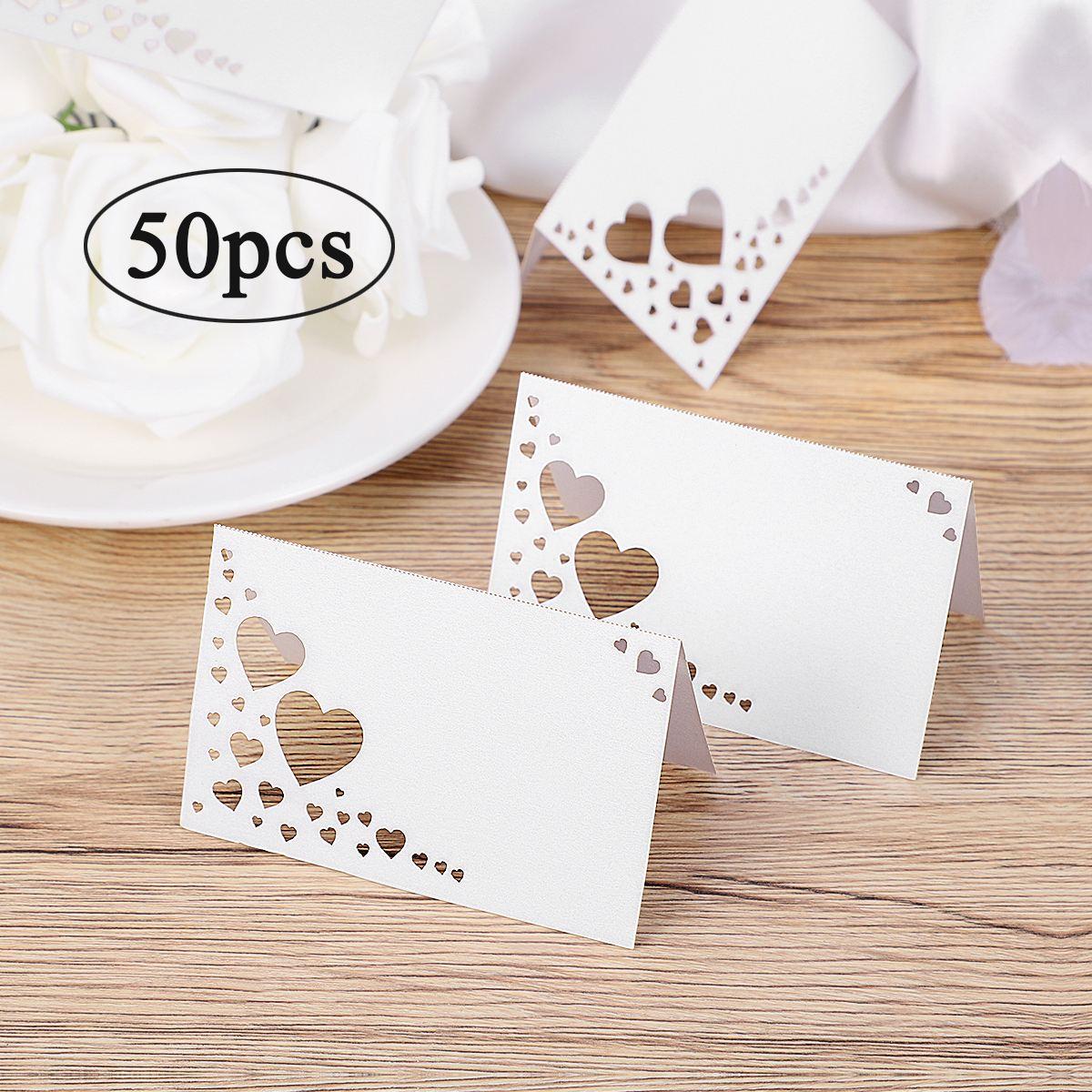 50 шт. бумажный белый элегантный стол с карточками в форме сердца, напечатанный стол, напечатанный стол, место для карт, свадебные торжественные вечерние сувениры для гостей