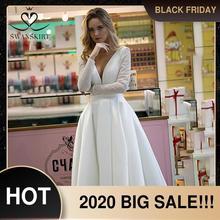 見事なサテンのウェディングドレスswanskirt HZ32シンプルなvネックロングaラインプリンセス花嫁衣装カスタマイズvestidoデ · ノビア