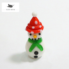 New Mini Handmade Glass Christmas Snowman Craft Figurine Ornaments Cute Xmas Gifts For Kids Home Table Decor Charms Accessories