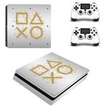 สีขาววันเล่นเต็มรูปแบบFaceplates PS4 Slimสติกเกอร์ผิวรูปลอกไวนิลสำหรับPlaystation 4คอนโซลและตัวควบคุมPS4 slimผิว