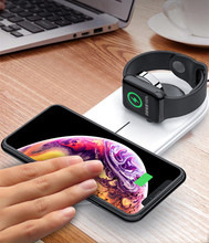 Wireless Charger Pad 2 IN 1 Dual For iPhone X XR XS MAX Magnetic Charging Station Apple Watch 4 3