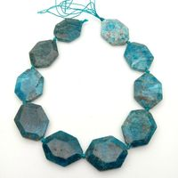 SE11442 30x40mm Natural Blue Apatite Faceted Nugget Loose Beads 16.5 Strand