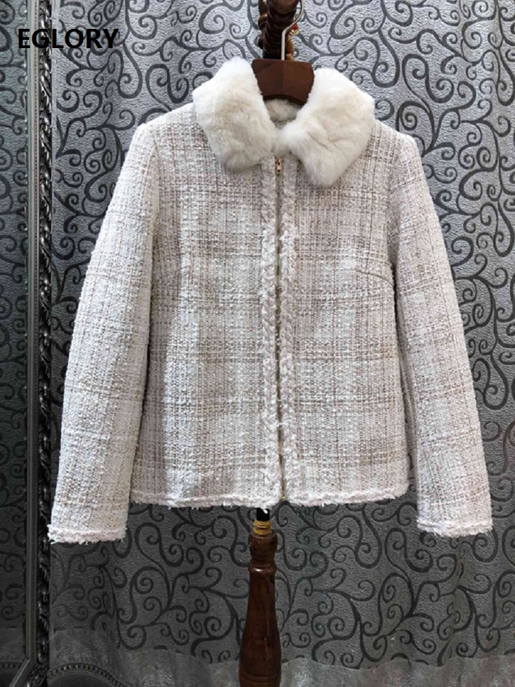 High Quality 2020 Winter Newest Women  Lapel Check Tweed Stitching Decoration Long-Sleeved Wild Jacket Short Coat