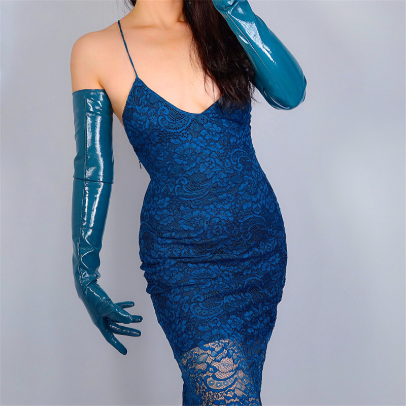 2020 NEW EXTRA LONG LATEX GLOVES Female Faux Patent Leather 28
