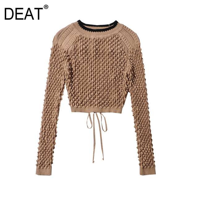 [DEAT] Tide Fashion New 2021 Spring summer Round Neck Hollow Out Solid Backless Color Knitting  Loose Sweater Women 13C215 1