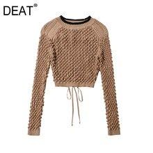 [Deat] 潮ファッション新2021春夏ラウンドネック中空アウトソリッド背中色ニットルーズセーター女性13C215