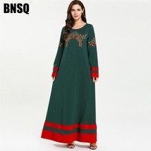 Арабское длинное платье с вышивкой размера плюс, элегантное платье с круглым вырезом и длинным рукавом, модное Платье макси с цветными блоками, Драпированное платье, новинка