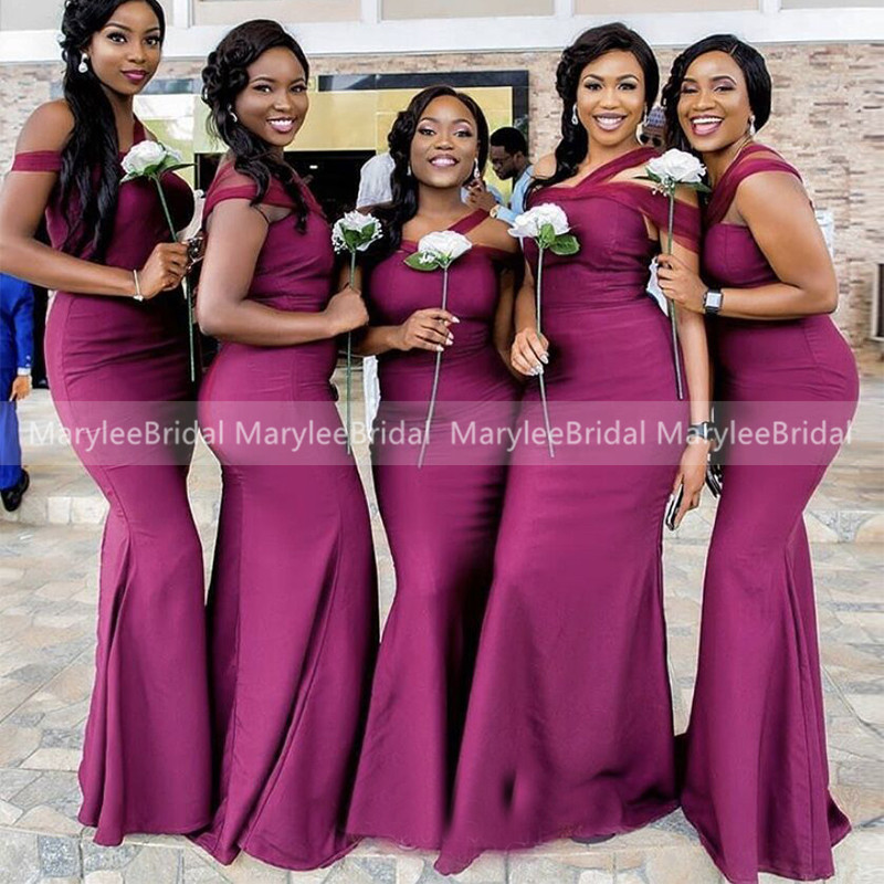 Long Mermaid Fuchsia Bridesmaid Dresses Tulle Straps Satin Vestido Madrinha African Maid Of Honor Dress Party Gowns For Women