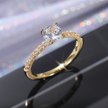 New Luxury Classic Sparkling Zircon Engagement Wedding Ring Gold, White Gold, Rose Gold Three-color Optional Jewelry