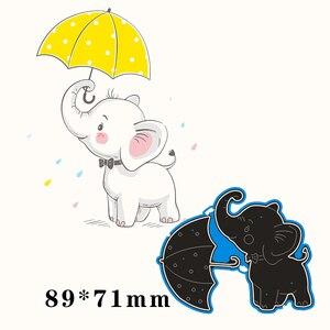 89*71 мм слон и зонтик новые металлические Вырубные штампы скрапбук бумажные украшения шаблон тиснение DIY бумажные карты Ремесло